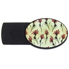 Vintage Style Seamless Floral Wallpaper Pattern Background Usb Flash Drive Oval (4 Gb)