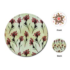 Vintage Style Seamless Floral Wallpaper Pattern Background Playing Cards (round)