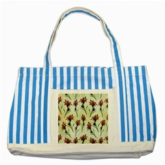 Vintage Style Seamless Floral Wallpaper Pattern Background Striped Blue Tote Bag
