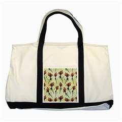 Vintage Style Seamless Floral Wallpaper Pattern Background Two Tone Tote Bag