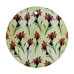 Vintage Style Seamless Floral Wallpaper Pattern Background Round Ornament (Two Sides)
