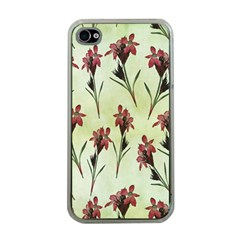 Vintage Style Seamless Floral Wallpaper Pattern Background Apple iPhone 4 Case (Clear)