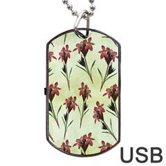 Vintage Style Seamless Floral Wallpaper Pattern Background Dog Tag USB Flash (One Side)