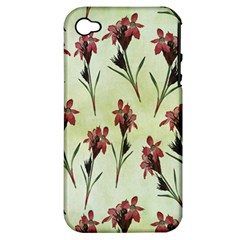 Vintage Style Seamless Floral Wallpaper Pattern Background Apple Iphone 4/4s Hardshell Case (pc+silicone)