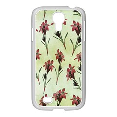 Vintage Style Seamless Floral Wallpaper Pattern Background Samsung GALAXY S4 I9500/ I9505 Case (White)