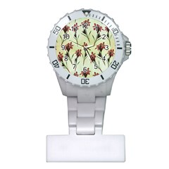 Vintage Style Seamless Floral Wallpaper Pattern Background Plastic Nurses Watch