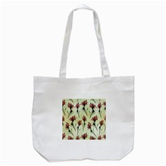 Vintage Style Seamless Floral Wallpaper Pattern Background Tote Bag (White)