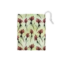 Vintage Style Seamless Floral Wallpaper Pattern Background Drawstring Pouches (Small)