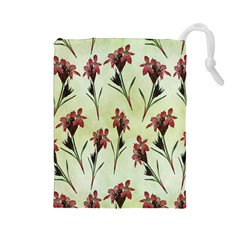 Vintage Style Seamless Floral Wallpaper Pattern Background Drawstring Pouches (Large)