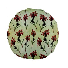 Vintage Style Seamless Floral Wallpaper Pattern Background Standard 15  Premium Flano Round Cushions