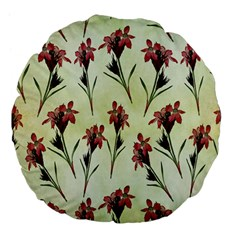 Vintage Style Seamless Floral Wallpaper Pattern Background Large 18  Premium Flano Round Cushions