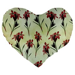 Vintage Style Seamless Floral Wallpaper Pattern Background Large 19  Premium Flano Heart Shape Cushions