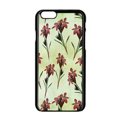 Vintage Style Seamless Floral Wallpaper Pattern Background Apple iPhone 6/6S Black Enamel Case