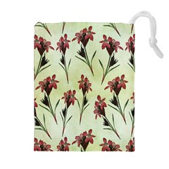 Vintage Style Seamless Floral Wallpaper Pattern Background Drawstring Pouches (Extra Large)