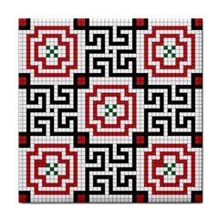 Vintage Style Seamless Black, White And Red Tile Pattern Wallpaper Background Tile Coasters