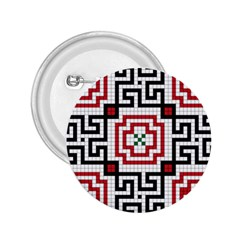 Vintage Style Seamless Black, White And Red Tile Pattern Wallpaper Background 2.25  Buttons