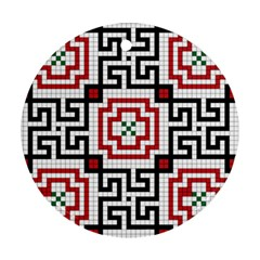 Vintage Style Seamless Black, White And Red Tile Pattern Wallpaper Background Ornament (Round)