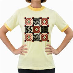 Vintage Style Seamless Black, White And Red Tile Pattern Wallpaper Background Women s Fitted Ringer T Shirts