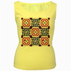 Vintage Style Seamless Black, White And Red Tile Pattern Wallpaper Background Women s Yellow Tank Top