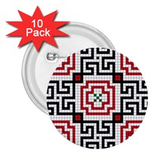 Vintage Style Seamless Black, White And Red Tile Pattern Wallpaper Background 2.25  Buttons (10 pack)