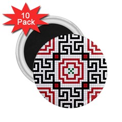 Vintage Style Seamless Black, White And Red Tile Pattern Wallpaper Background 2.25  Magnets (10 pack)