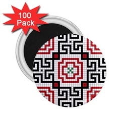 Vintage Style Seamless Black, White And Red Tile Pattern Wallpaper Background 2.25  Magnets (100 pack)