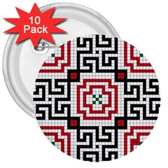 Vintage Style Seamless Black, White And Red Tile Pattern Wallpaper Background 3  Buttons (10 pack)