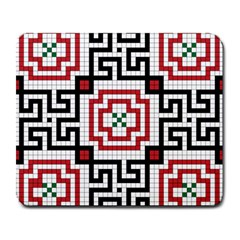 Vintage Style Seamless Black, White And Red Tile Pattern Wallpaper Background Large Mousepads