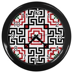 Vintage Style Seamless Black, White And Red Tile Pattern Wallpaper Background Wall Clocks (Black)