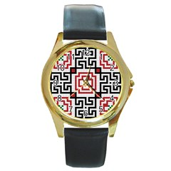 Vintage Style Seamless Black, White And Red Tile Pattern Wallpaper Background Round Gold Metal Watch