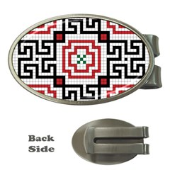 Vintage Style Seamless Black, White And Red Tile Pattern Wallpaper Background Money Clips (Oval)