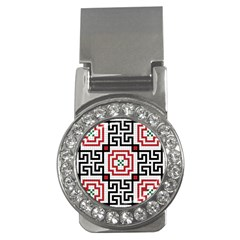 Vintage Style Seamless Black, White And Red Tile Pattern Wallpaper Background Money Clips (CZ)