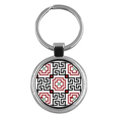 Vintage Style Seamless Black, White And Red Tile Pattern Wallpaper Background Key Chains (round)