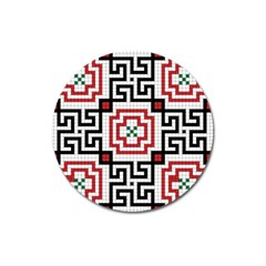Vintage Style Seamless Black, White And Red Tile Pattern Wallpaper Background Magnet 3  (round)