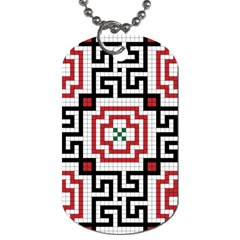 Vintage Style Seamless Black, White And Red Tile Pattern Wallpaper Background Dog Tag (One Side)