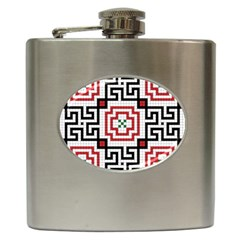 Vintage Style Seamless Black, White And Red Tile Pattern Wallpaper Background Hip Flask (6 Oz)