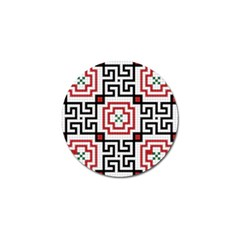 Vintage Style Seamless Black, White And Red Tile Pattern Wallpaper Background Golf Ball Marker