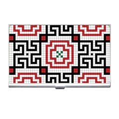 Vintage Style Seamless Black, White And Red Tile Pattern Wallpaper Background Business Card Holders