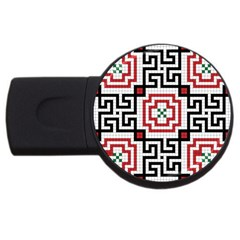 Vintage Style Seamless Black, White And Red Tile Pattern Wallpaper Background Usb Flash Drive Round (2 Gb)