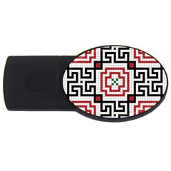 Vintage Style Seamless Black, White And Red Tile Pattern Wallpaper Background USB Flash Drive Oval (2 GB)