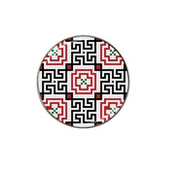 Vintage Style Seamless Black, White And Red Tile Pattern Wallpaper Background Hat Clip Ball Marker (4 pack)