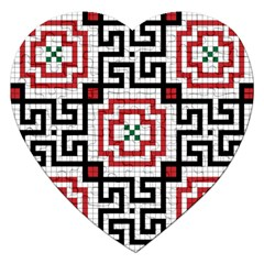 Vintage Style Seamless Black, White And Red Tile Pattern Wallpaper Background Jigsaw Puzzle (heart)