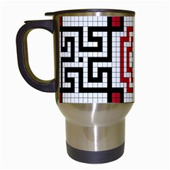 Vintage Style Seamless Black, White And Red Tile Pattern Wallpaper Background Travel Mugs (white)