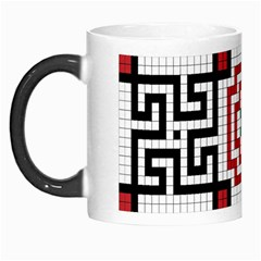 Vintage Style Seamless Black, White And Red Tile Pattern Wallpaper Background Morph Mugs