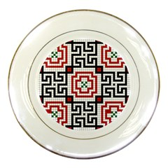 Vintage Style Seamless Black, White And Red Tile Pattern Wallpaper Background Porcelain Plates