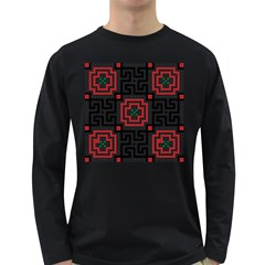 Vintage Style Seamless Black, White And Red Tile Pattern Wallpaper Background Long Sleeve Dark T-Shirts