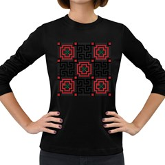 Vintage Style Seamless Black, White And Red Tile Pattern Wallpaper Background Women s Long Sleeve Dark T-Shirts
