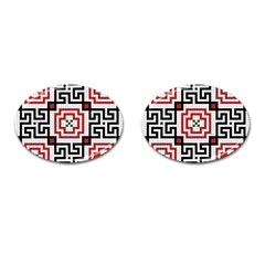 Vintage Style Seamless Black, White And Red Tile Pattern Wallpaper Background Cufflinks (Oval)