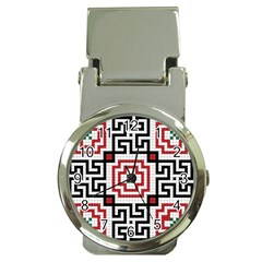 Vintage Style Seamless Black, White And Red Tile Pattern Wallpaper Background Money Clip Watches