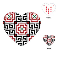 Vintage Style Seamless Black, White And Red Tile Pattern Wallpaper Background Playing Cards (heart)